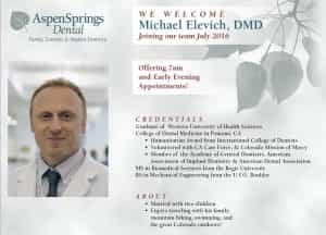 Announcement: We Welcome Michael Elevich, DMD.